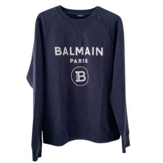 Balmain Navy Logo Sweatshirt