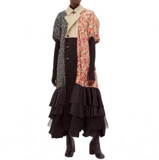 Junya Watanabe CdG Reversible Floral Print Paneled Trench Coat