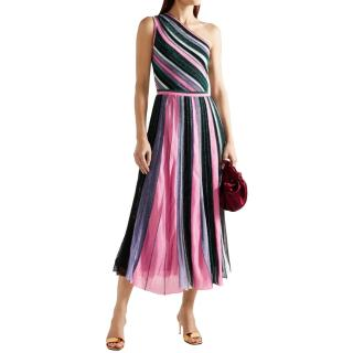 Missoni Metallic Knit Striped One Shoulder Midi Dress