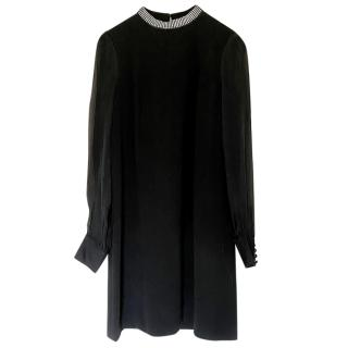 Tara Jarmon Black Crepe Shift Dress with Crystal Collar