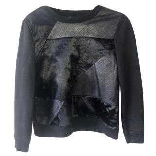 Theory Saybrook Leather, Cotton & Calfhair Jumper