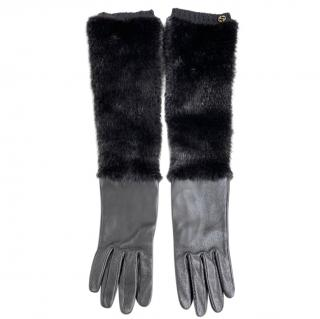 Gucci Leather & Silk Mink Fur Trim Long Gloves