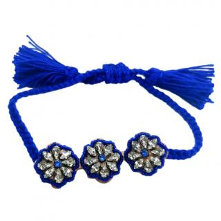 Shourouk Blue Crystal Embellished Cord Bracelet