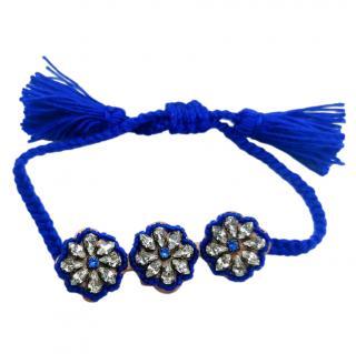 Shourouk Blue Crystal Embellished Cord Bracelet