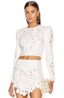 Zimmermann Ivory Brightside Rouleaux cutout linen top