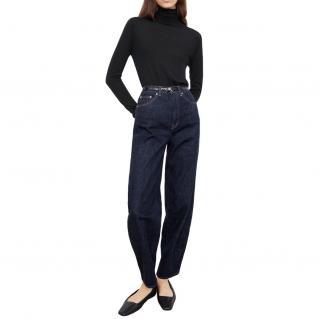 Toteme Barrel Leg Denim Raw Blue Jeans