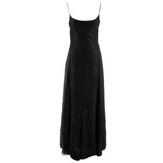 Valentino Black Silk Blend Embroidered Textured Gown