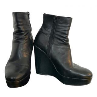 Stuart Weitzman Black Leather Wedge Ankle Boots