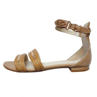 Balenciaga Camel Brown Patent Strappy Flat Sandals