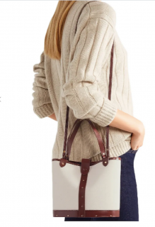 The Row Leather Trimmed Canvas Bucket Bag