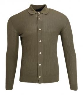 Thom Sweeney Olive Button Down Knit Shirt