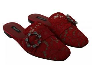 Dolce & Gabbana Burgundy Lace Crystal Slides