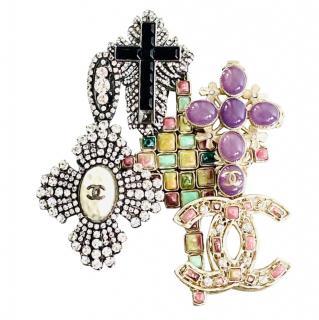 Chanel Multi-Brooch Gripoix Crystal Embellished Brooch