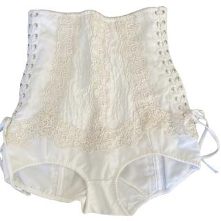 Dolce & Gabbana Ivory Lace Detailed Lace-Up Panties