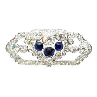 Antique Bespoke Sapphire & Diamond Art Deco Brooch