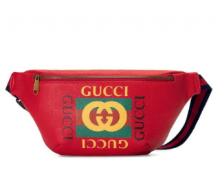 Gucci Red Leather Vintage Print Crossbody Bag