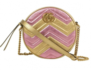 Gucci Metallic Pink/Gold GG Marmont Round Crossbody Bag
