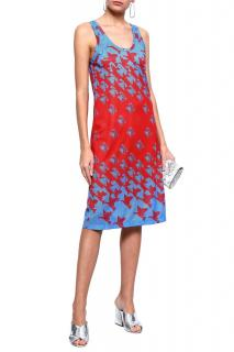 Maison Margiela Red & Blue Telephone Print Mesh Dress
