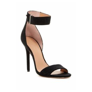 Halston Heritage Marley Embossed Black Sandals
