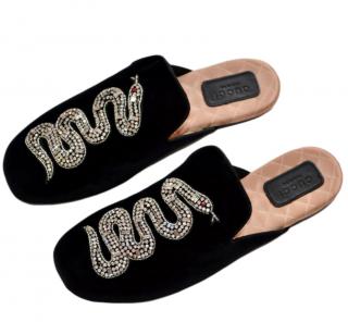 Gucci Black Velvet Snake Embroidered Lawrence Slippers