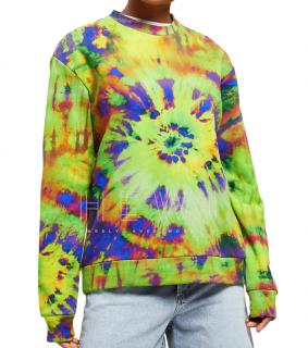 MSGM Green Tie-Dye Print Sweatshirt
