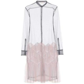 Dries Van Noten Grey & Pink Tulle Shirt Dress