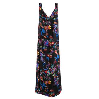 Maison Margiela Black Satin Sleeveless Floral Dress