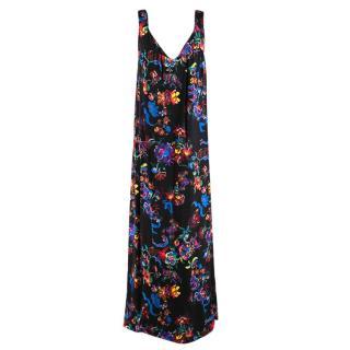 Maison Margiela Black Satin Sleeveless Floral Dress