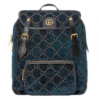Gucci Blue GG Velvet Small Backpack