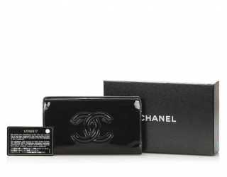 Chanel Black Patent Camellia Detail Timeless Long Wallet