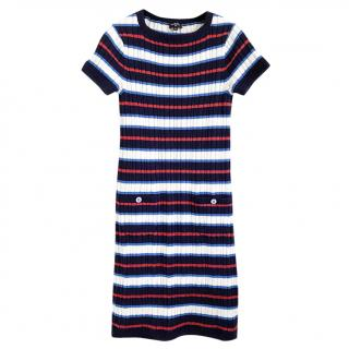 Chanel Silk Blend Striped Ribbed Knit Dress