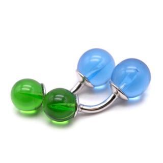 Richard James Blue & Green Silver Plated Glass Balls Cufflinks