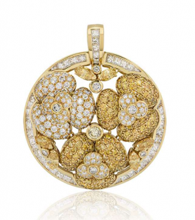 Bespoke 18kt Yellow Gold Round Yellow/White Diamond Pendant