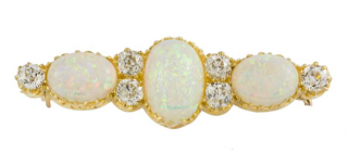 Bespoke Yellow Gold Antique Opal and Diamond Brooch