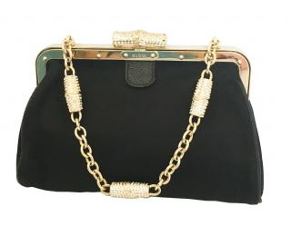 Gucci Black Satin Crystal Embellished Clutch on Chain