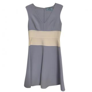 Prada Blue/Ivory Virgin Wool Sleveeless Dress