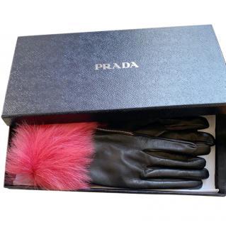 Prada Black Lamb Fur Trimmed Lambskin Gloves