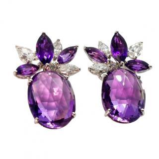William & Son Diamond & Amethyst Earrings