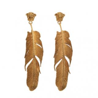 Versace Gold Tone Medusa Feather Tribute Earrings