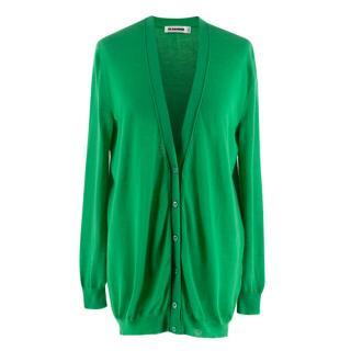 Jil Sander Green Cashmere Knit Cardigan