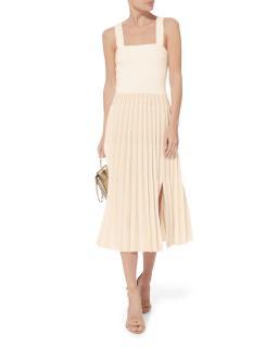 Derek Lam Cream Pleated Knit Midi Dress