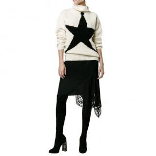 No.21 black silk lace trimmed asymmetric skirt