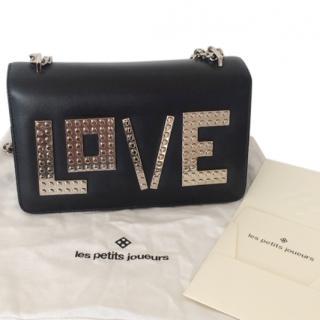Les Petite Joueurs Black LOVE Plate Shoulder Bag