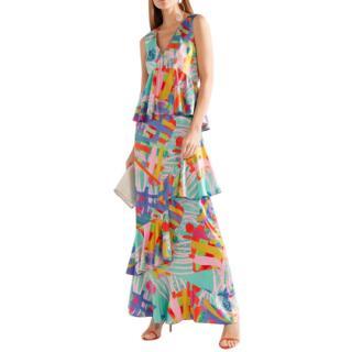 House of Holland Nova Ruffled Printed Satin Maxi Dress In Blue