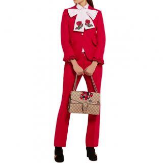 Gucci Red Wool & Silk Blend Straight Leg Pants & Jacket
