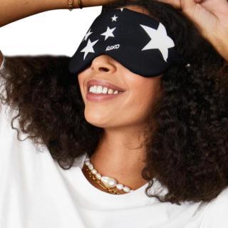 Rixo Black Silk Star Print Ibiza Eye Mask