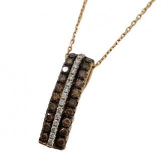 Bespoke Yellow Gold White & Chocolate Diamond Pendant Necklace