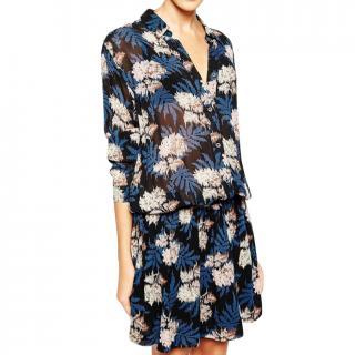 Ganni Blue Georgette Park Row Shirt Dress