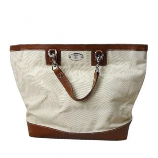 Celine Cream Leather Trim Canvas Tote Bag