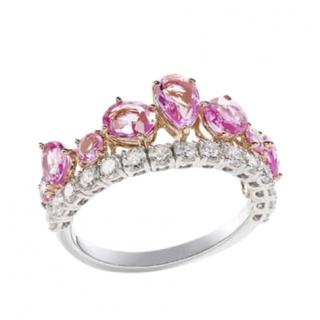 William & Son Pink Sapphire & Diamond Tiara Ring